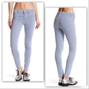Hudson Jeans Nico Mid Rise Striped Denim Pant 32